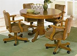 dining room table and chair sets 5pc 3 in 1 dining table chairs set oak finish