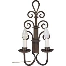 Large Wall Sconces Lighting Large 1930s Art Deco Gothic Wrought Iron Scroll Wall Sconce Light