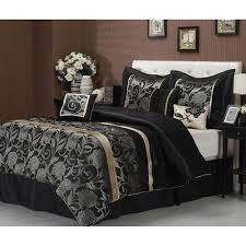 Rose Tree Symphony Comforter Set New 7 Pc Black Grey Gold Silver Floral Design Comforter Set Queen