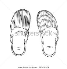 vector sketch slippers hand draw illustration stock vector
