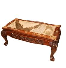 vintage sandalwood marble and mother of pearl inlay coffee table