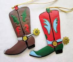 cowboy boot ornaments painted metal country western
