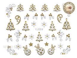 silver gold tree mistletoe ornament nail sticker 1