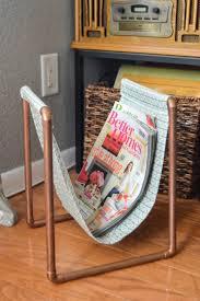 diy copper pipe magazine rack revamperate