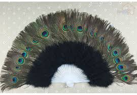 peacock fan peacock feather fan bridal party supply decor woman