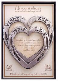 heart shaped horseshoes horseshoe hearts keepsakes blacksmith forged personalised