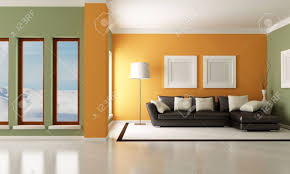 Wohnzimmer Orange Moderne Wohnzimmer Mit Eleganter Couch Rendering Das Bild Auf