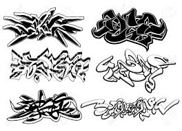 set of 6 graffiti sketches isolated on white royalty free cliparts