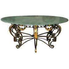 art nouveau style crackle glass round dining table glass round