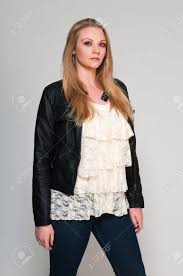 frilly blouse pretty plus size in a frilly blouse stock photo