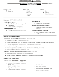 Sample Resume Research Assistant Resume Web Development Resume