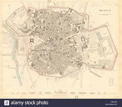 Madrid Map Madrid Antique Town City Map Plan Original Outline Colour Sduk