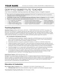 A Job Resume Example by Resume For Substitute Teacher Berathen Com
