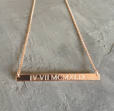 gold engraved necklace numeral necklace gold bar necklace gold