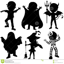 kids halloween cartoon silhouette kids halloween costume isolated stock vector image