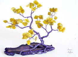 wire tree sculpture gemstone tree of life bonsai miniature home