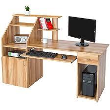 meuble pour ordinateur de bureau tectake bureau informatique table de l ordinateur avec de nombreux