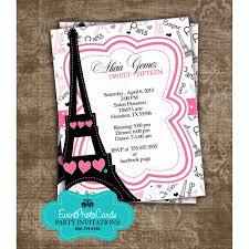 Salon Invitation Card Paris Themed Sweet Fifteen Customized U0026 Personalized Pink Invites