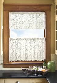interior white patterned cafe curtains with valance for cozy