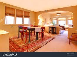 Craftsman Style Dining Room Furniture by Dining Room Folk Design Warm Yellow Stock Photo 73795105