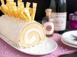 champagne cake roll with white chocolate white chocolate bûche de