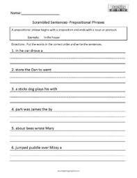 scrambled sentences prepositions teaching squared