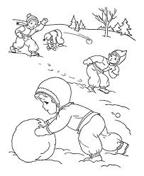 childrens outdoor activities on winter season coloring page