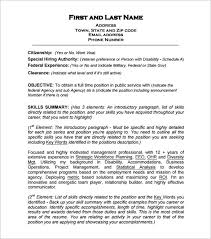 federal resume templates federal resume template 10 free sles exles format