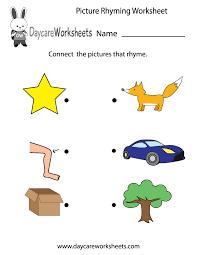 printable rhyming words free preschool picture rhyming worksheet