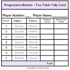 two table progressive tally progressive euchre two table tally card print