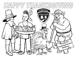 happy thanksgiving coloring page smokey the bear coloring pages bestofcoloring com