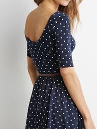 navy polka dot print backless belt waist skater dress 365 day