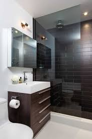 small modern bathroom with sleek vanity and walk in shower