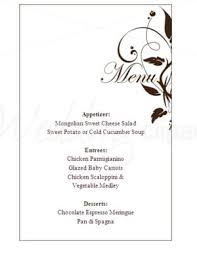 wedding menu templates printable silhouette menu template