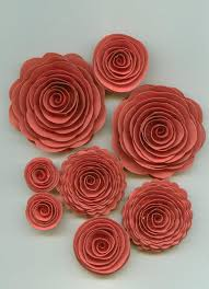 Flowers For Weddings Pink Coral Rose Spiral Paper Flowers For Weddings Bouquets