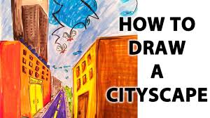 how to draw a cityscape in perspective youtube