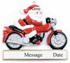 buy santa on motorcycle ornament personalized ornament