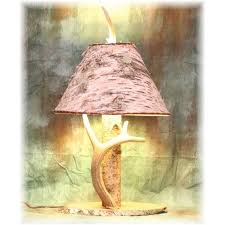 Antler Table Lamp Hidalgo Birch Log Deer Antler Table Lamp