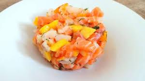 cuisiner le haddock fumé tartare de saumon frais et de haddock fumé à la mangue recette par