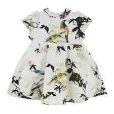 roberto cavalli kids baby girls cream dress with bird print