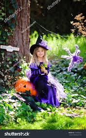 girls pumpkin halloween costume happy little halloween costume jack stock photo 214462621