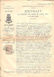acte mariage registre d etat civil mariage de jean jacques ferdinand de