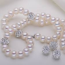 pearls necklace real images New 2017 pearl necklace 925 sterling silver with 9mm crystal jpg