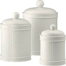 martha stewart collection whiteware basketweave 3 pc canister set 3550