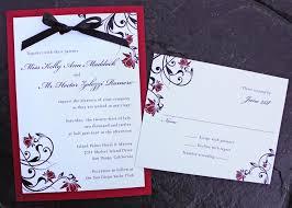 Wedding Invitations With Ribbon Red Rose U0026 Black Swirl Vine With Ribbon Bow Wedding Invitations
