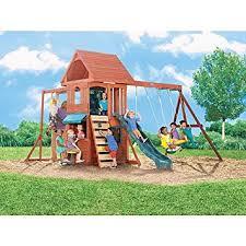 Big Backyard Swing Set Amazon Com Ridgeview Clubhouse Wooden Swing Set Toys U0026 Games