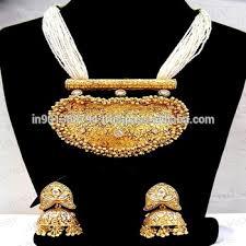 ethnic necklace design images Heavy artificial golden ethnic fusion designer kundan polki pearl jpg