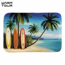 Palm Tree Bathroom Rug Warm Tour Doormats Island Surfboards Palm Trees Soft Lightness