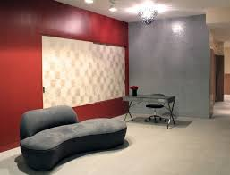 Curved Sofa Designs by Chic Condo Lobby With Red Wall Accents And Grey Upholstered Curved