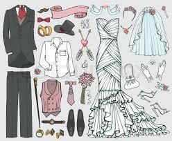 wedding fashion wear doodle bride dress groom suit vintage